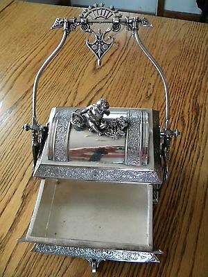 Victorian Silver Plate Cherub Mechanical Aesthetic Movement Jewelry Box Wheel