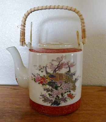 Vintage Satsuma Japan Teapot  Peacock Design Bamboo handle
