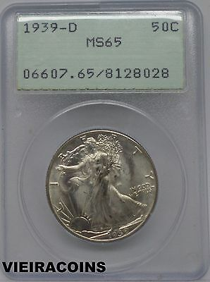 1939-D  Walking Liberty Half Dollar, PCGS MS65, Old Green Holder OGH  - #9076