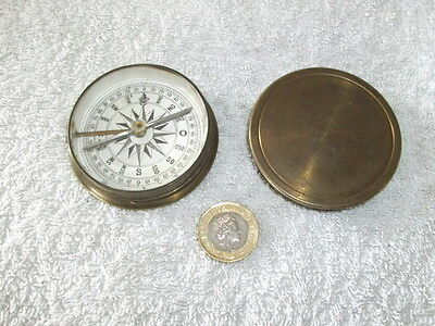 c1900 A LARGER SIZE BRASS POCKET CASED COMPASS