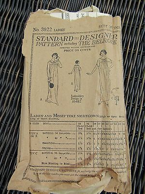 Antique 1919 Sewing Pattern Nightgown Standard Designer by Butterick B38