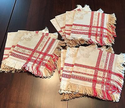 11 Antique Red and Tan Damask Napkins