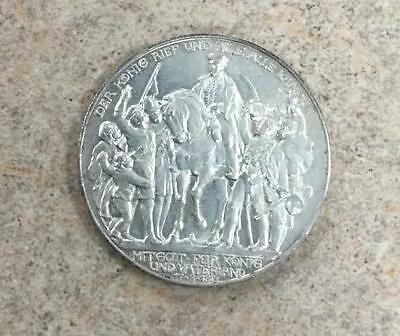 1913-A 3 Mark Drei Mark Prussia Germany Silver Coin Uncirculated