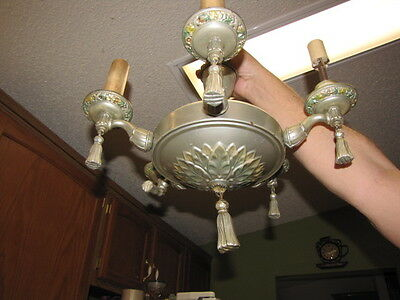 Antique Art Nouveau Chandelier 5 Ceiling Lighting Fixture Ornate Pan Restoration