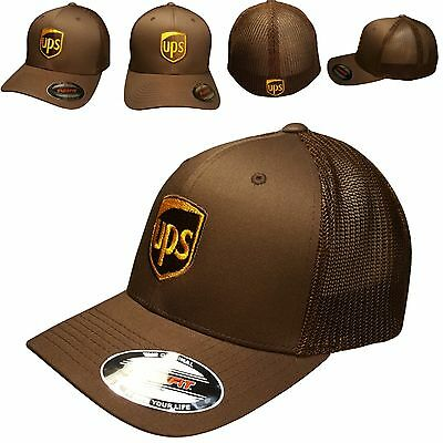 UPS Flexfit Hat Yupoong Trucker Mesh Cap Brown United Parcel Service 6 7/8-7 1/2