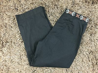 ELEVENSES Black Floral Embroidered Waist sz 8 Capri Cropped Pants Casual Career