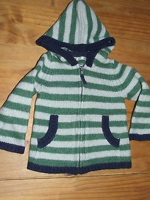 Baby Boden green striped cardigan 12-18 months