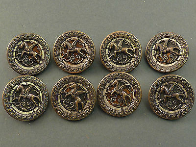 8 x VICTORIAN PEGASUS FLYING HORSE PICTURE BUTTONS