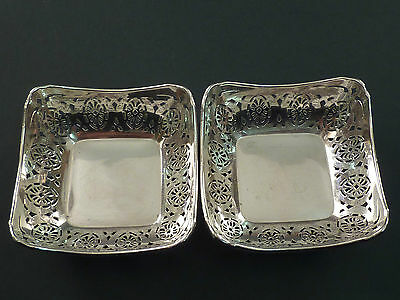 Pair Of 1918 Silver Pierced Square Pin Dishes
