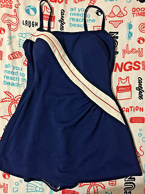 Vintage Robby Len Bombshell 1 Piece Swimsuit Bathing Suit Pin Up Swimdress 13-14