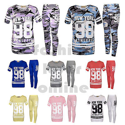 New Girls 98 New York Brooklyn Plain Camouflage Print 2 pc Tracksuit outfit Set