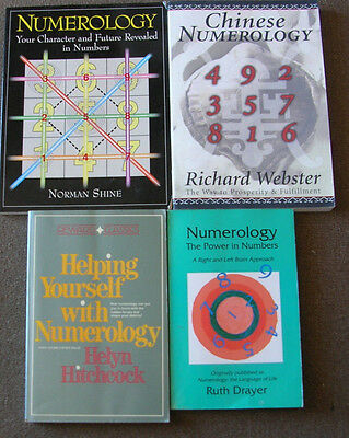 Lot of 4 books on Numerology.  Free shipping.  Next business day shipping.