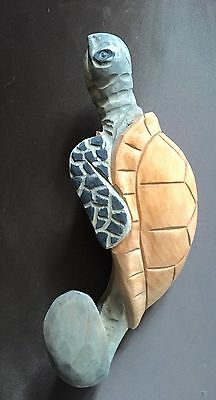 Hand Carved Wooden Sea Turtle Wall Hook