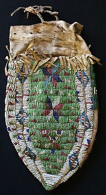 "1880s Eastern Sioux Indian 3 Panel Womans Beaded Bag Sinew Sewn On Hide 11"" x 6"""