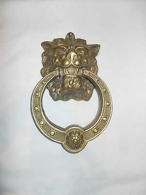 "Vintage Large 9"" Heavy Solid  Brass Lion Head Door Knocker"