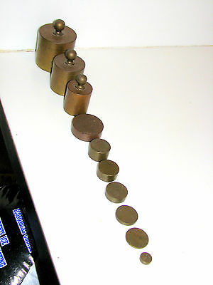 10 graduated apothecary brass scale weights antique precision accuracy scale
