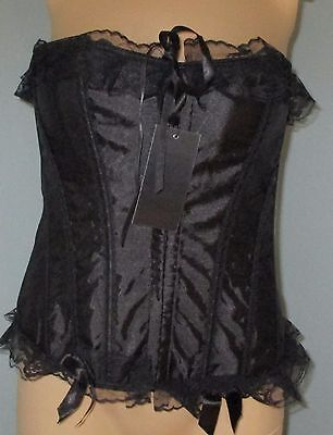 Vaacodor Black Boned Liquid Satin Lace Up Corset Bustier Metal Hook Eye Medium