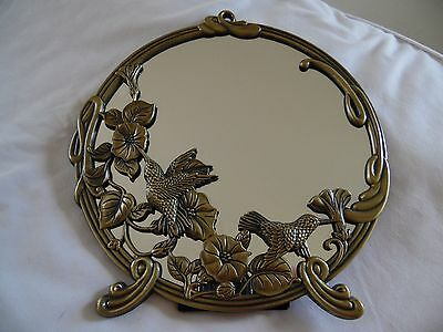Andrea by Sadek Brass HUMMINGBIRDS 9 Inch Round Mirror