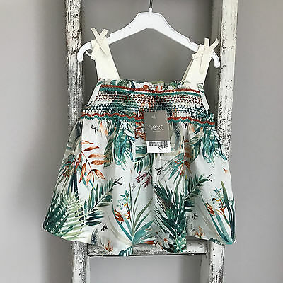 BNWT Baby Girl Next Top Size 9-12 Months Botanical White Green Floral Summer New