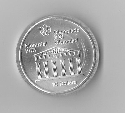 Canada 10 Dollars 1974 Silver coin UNC Temple of Zeus Montreal Olympics 1976