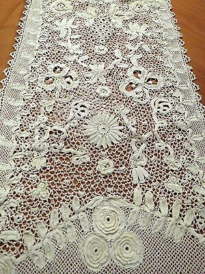 Antique Irish Crochet Lace Runner Handmade Roses Flowers Grapes Table Scarf 33""