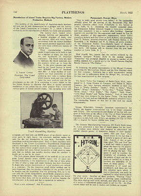 1922 Lionel Trains Requires Big Factory, Modern Production Methods TOY Article