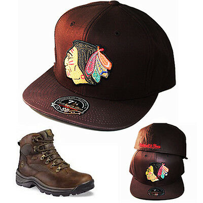 Mitchell & Ness Chicago Blackhawks Fitted Hat Matches Timberland Brown Boots Cap
