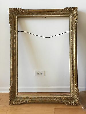 Antique Victorian Gold Frame Carved Wood 42.5 X 30, For 24 X 36 Canvas