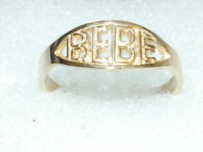 """10k Gold Child Ring with """"BEBE"""""""