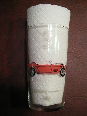 1960 Ferrari spyder Mobil Oil Drinking Glass RARE!! Awesome L@@K