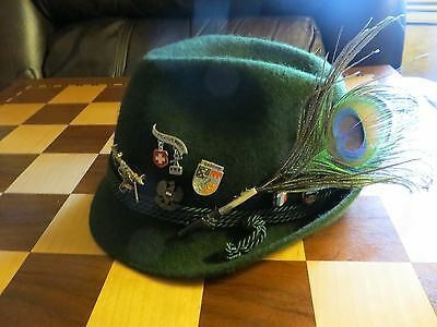 Vintage Tyrolean ? Alpine Hat with Pins and Feathers