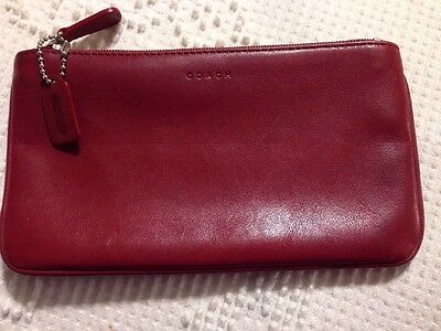 Vintage Coach Red Leather Cosmetic  Make Up Case Travel Bag Pouch Purse
