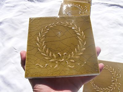 Antique USET Majolica Fireplace Raised Relief Tile Set Gold Green Laurel Wreath