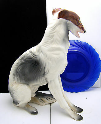 "Large Vintage Ceramic Figure 11"" Statue Whippet Dog Borzoi Tri-Color"