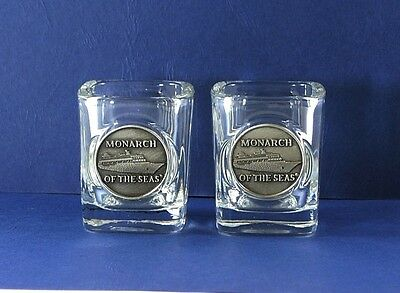 Set of 2 Royal Caribbean Monarch of the Seas Square Shot Glass Metal Medallion