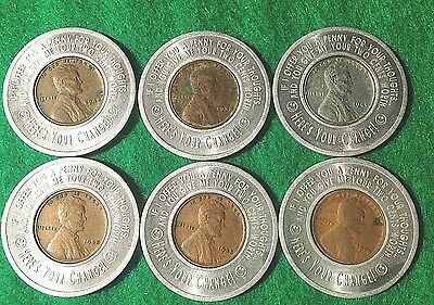 "Lot of 6 x ""Lucky Penny Pocket Piece"" Good Luck Encased Wheat Pennies"