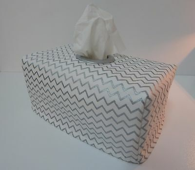 Silver Metallic Mini Chevron Tissue Box Cover With Circle Opening - Lovely Gift
