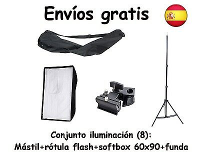 Kit Iluminacion: Mastil, Softbox (Ventana 60 X 90 Cm) Y Rotula