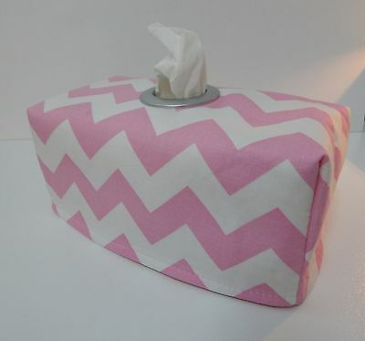 Pink Chevron Tissue Box Cover With Circle Opening - Lovely Gift