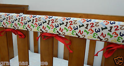 2 x Cot Rail Cover Crib Teething Pad -  Coloured Numbers - REDUCED - SET OF TWO