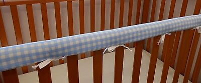 2 x Baby Cot Rail Cover Crib Teething Pad Baby Blue Check **REDUCED** SET OF TWO