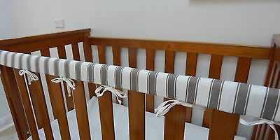 2 x Baby Cot Rail Cover Crib Teething Pad  Grey Stripe - **REDUCED** SET OF TWO