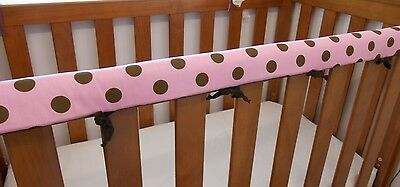 2 x Baby Cot Rail Cover Crib Teething Pad Pink Large Spots *REDUCED* SET OF TWO