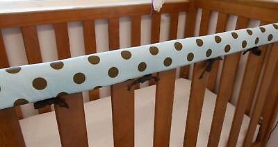 2 x Baby Cot Rail Cover Crib Teething Pad - Blue Large Spots REDUCED* SET OF TWO