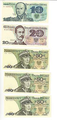Poland Set 10,20, + 3 Diff Dates 50 And 100, 500 And 1000  All Nice Unc