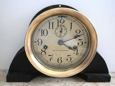 "Antique Seth Thomas Brass Ship's 8-Day Time Only Clock - 6 1/4"" Dial - Running"
