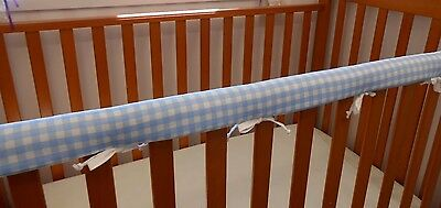 2 x Cot Rail Cover Crib Teething Pad Baby Blue Check ***REDUCED** SET OF TWO