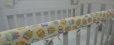 Cot Rail Cover Crib Teething Pad Owls Cream  SET OF TWO