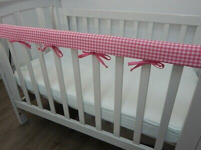 Cot Rail Cover Crib Teething Pad Cotton Pink Gingham SET OF TWO