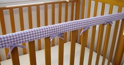 2 x Baby Cot Rail Cover Teething Pad Cotton Lilac Mauve Gingham  SET OF TWO